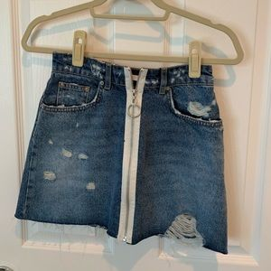 ZARA DISTRESSED DENIM MINI SKIRT NEW WITHOUT TAGS